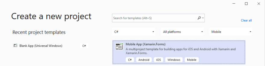 New project dialog with Mobile App selected