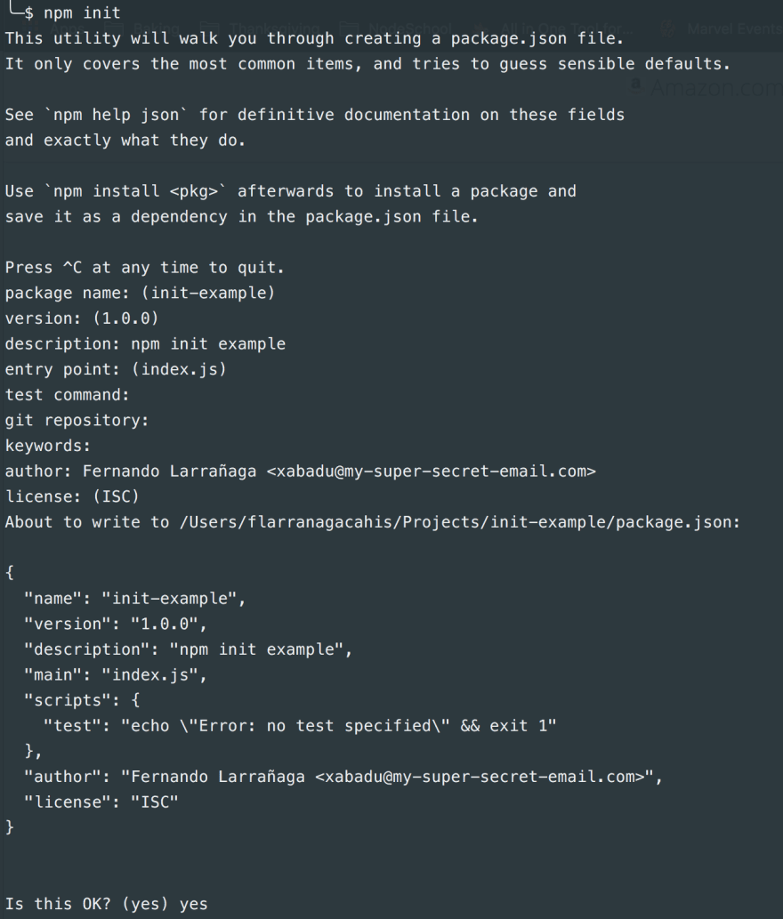 Creating a package.json using npm