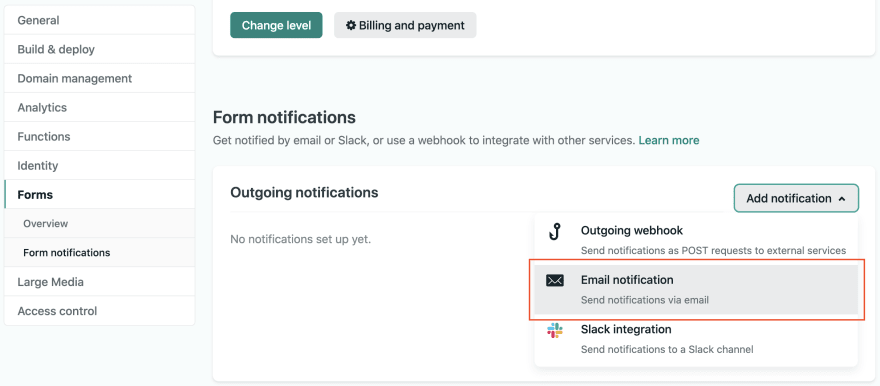 Netlify Email notifications