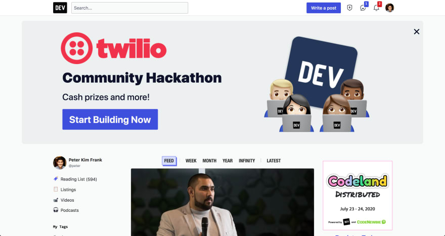 Homepage banner from Twilio Hackathon