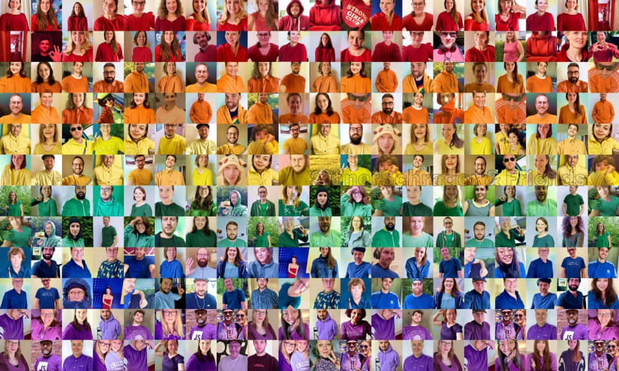 Mosaic picture of SinnerSchrader and friends in LGBT+ flag colors