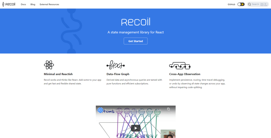 Recoil landing page