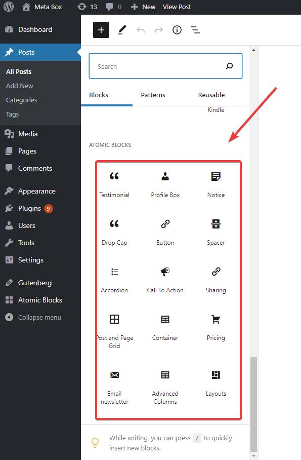 Atomic Blocks plugin provides users with 15 pre-built diverse Gutenberg blocks.
