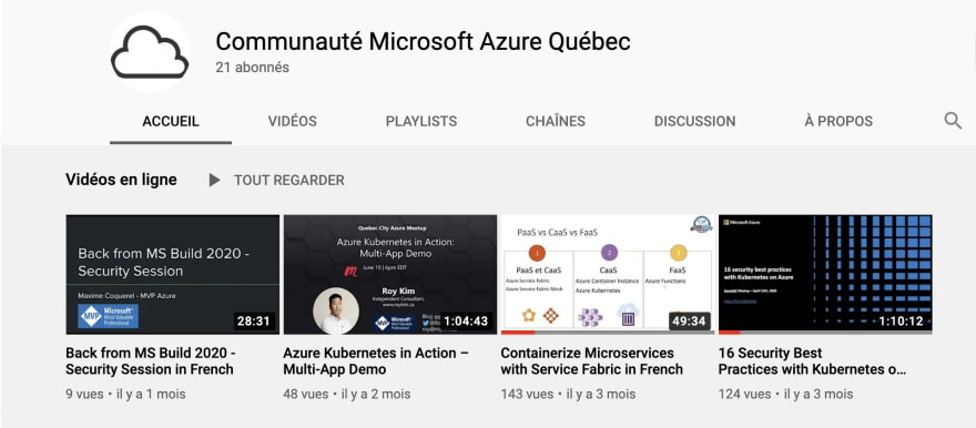 Azure Quebec is on YouTube