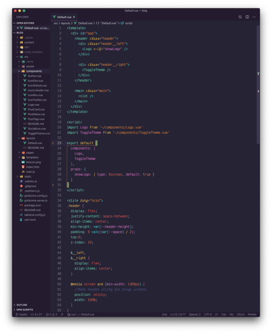 A Vue.js file with the synth wave '84 theme active