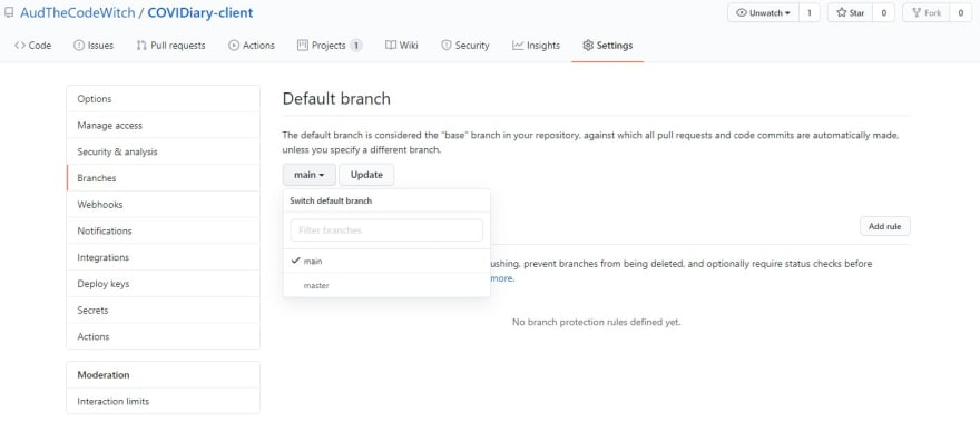 How to set your default GitHub branch