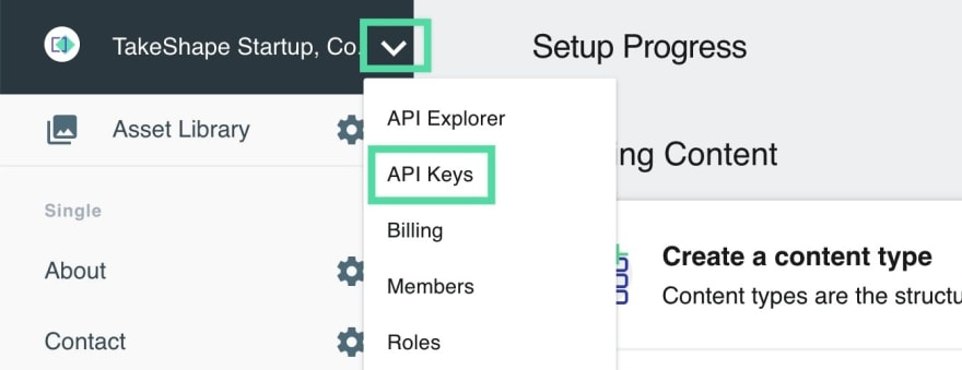 Navigating to API Keys
