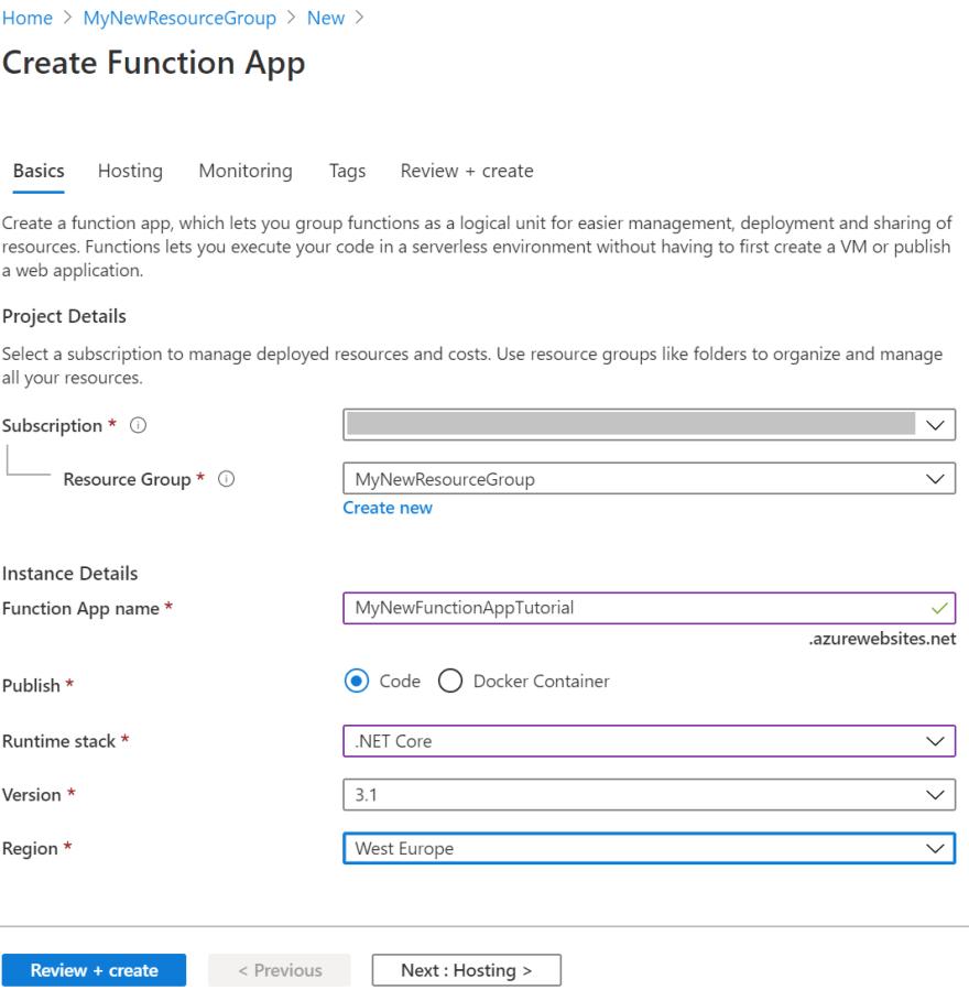 Function App Creation Basics