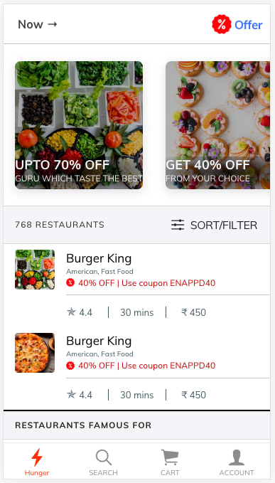 Food ordering app home page for Ionic Dark mode example