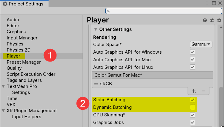 Unity Draw Call Batching Settings