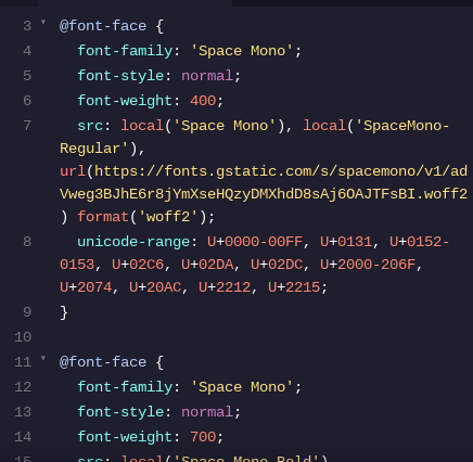 Font face link in a CSS file
