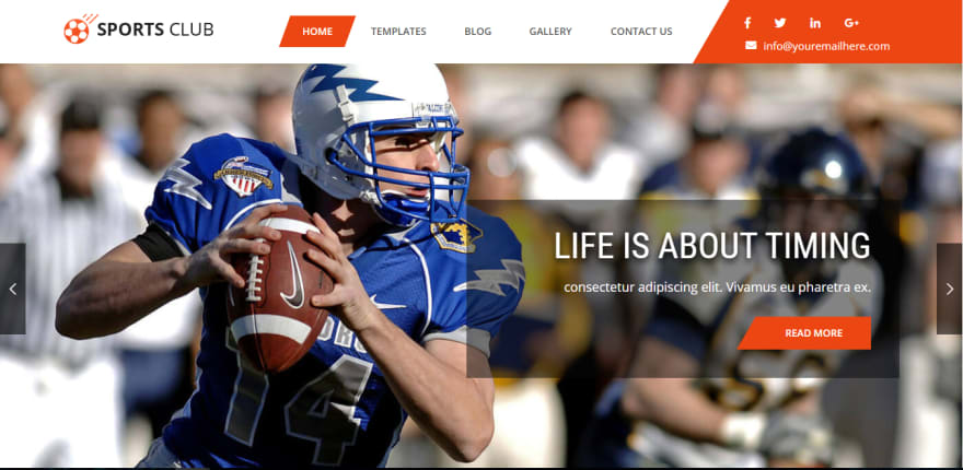 Sports Club Lite is a perfect modern free sports WordPress theme