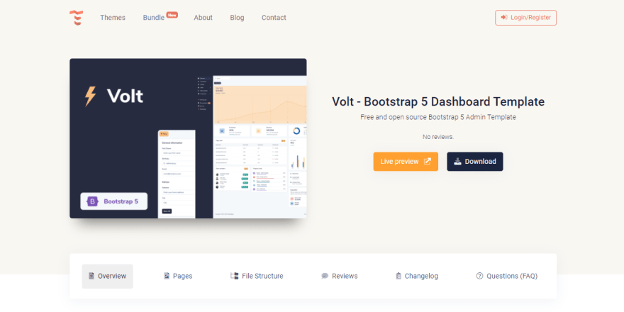 Bootstrap 5 Template - Volt Dashboard, product page.