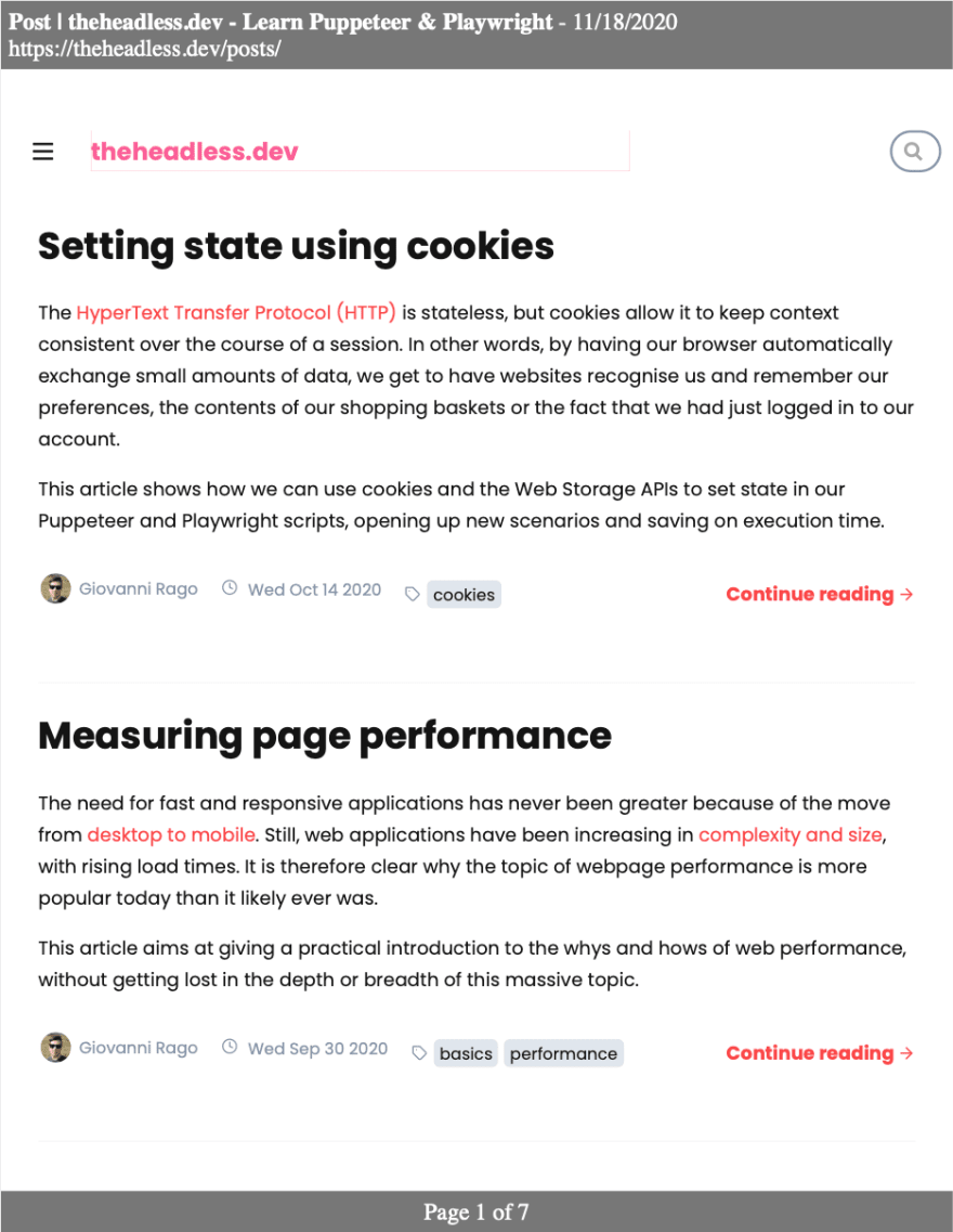 generated pdf screenshot example