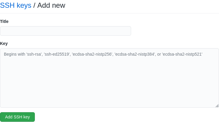 Formulário para adicionar chave SSH