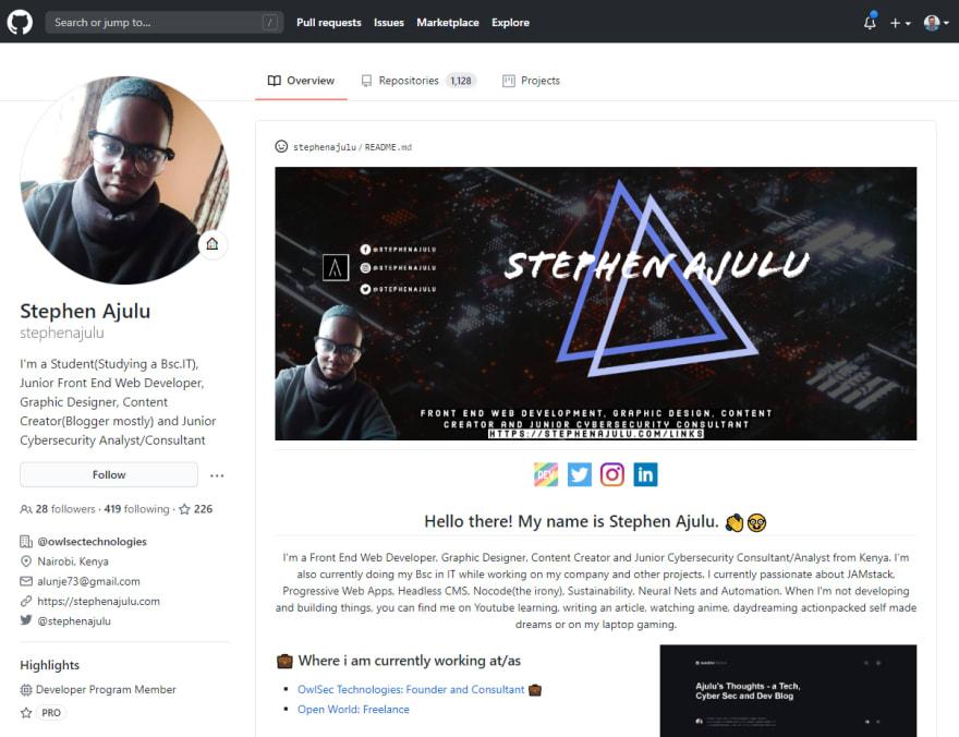 GitHub Profile Screenshot of Stephen Ajulu