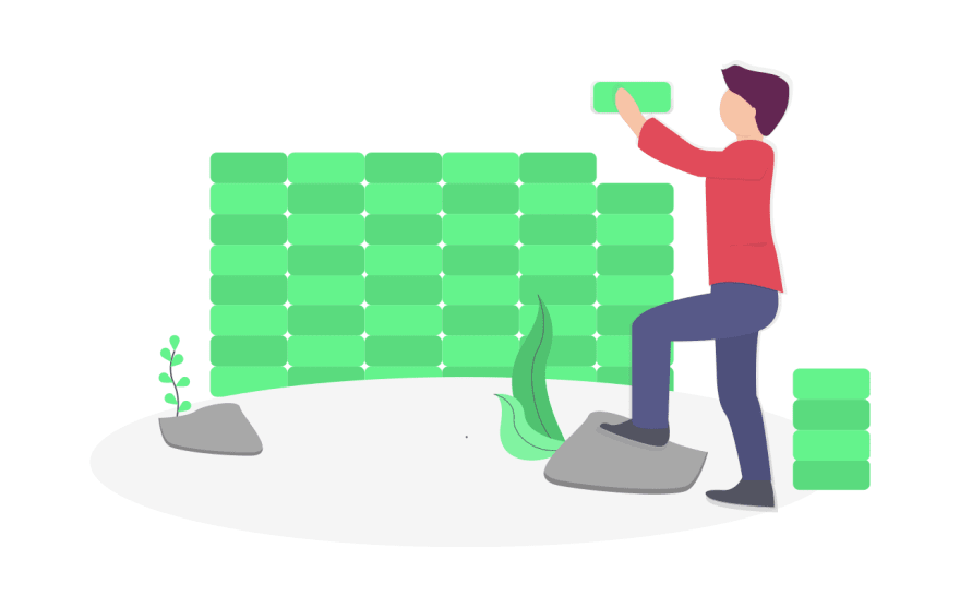Illustration of person building a brick wall