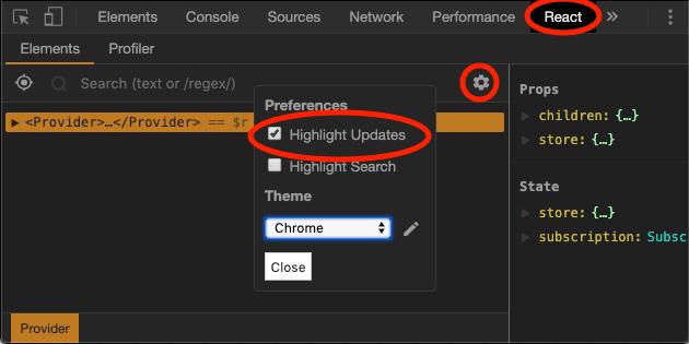 React DevTools Update Highlighting