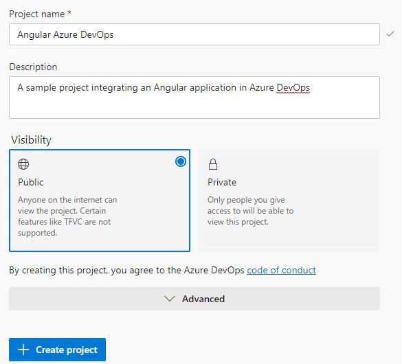 Creating an Azure DevOps project