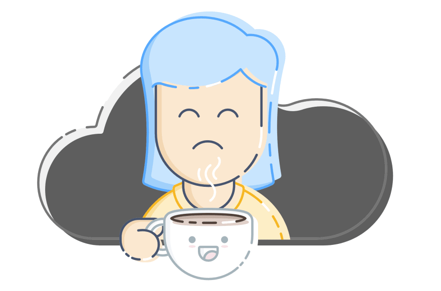 A sad person with a happy cup of coffee