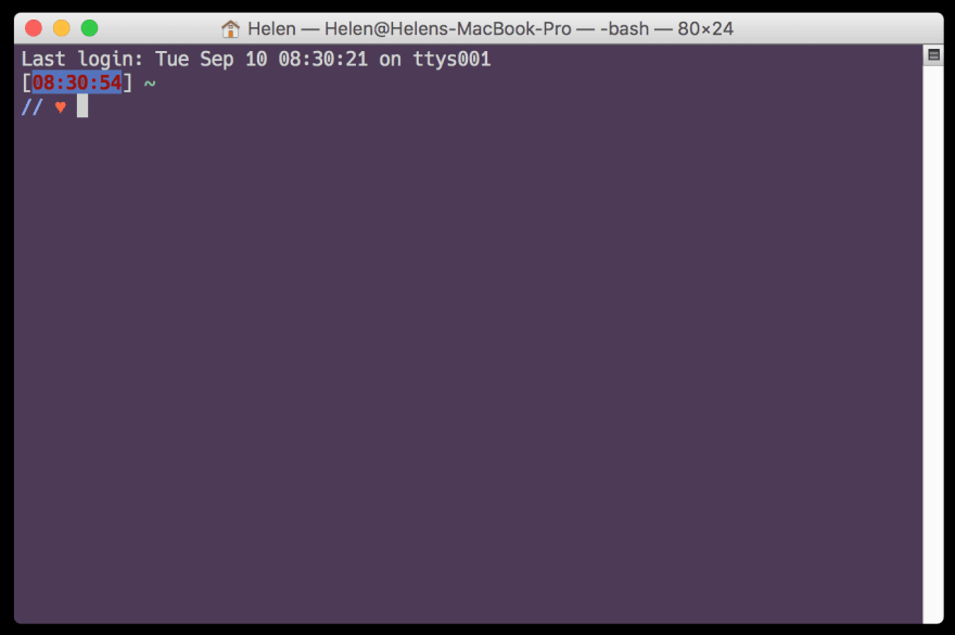 a screencap of a terminal with a purple background