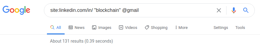 Google Results for blockchain technology with public gmail accounts