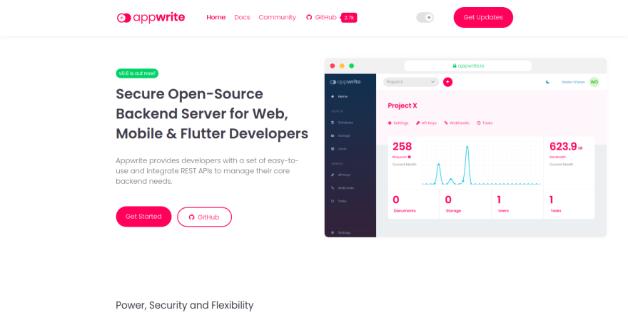 Appwrite landing page