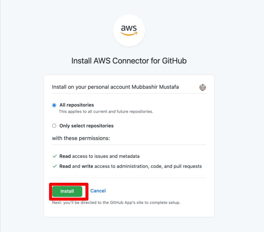 AWS App runner displaying all GitHub repositories