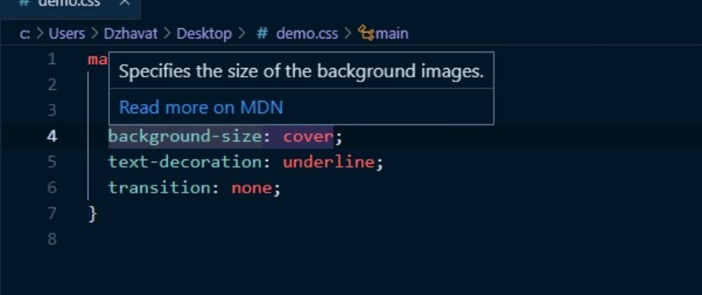 Cover image for VS Code extension that lets you open the MDN docs of a CSS property