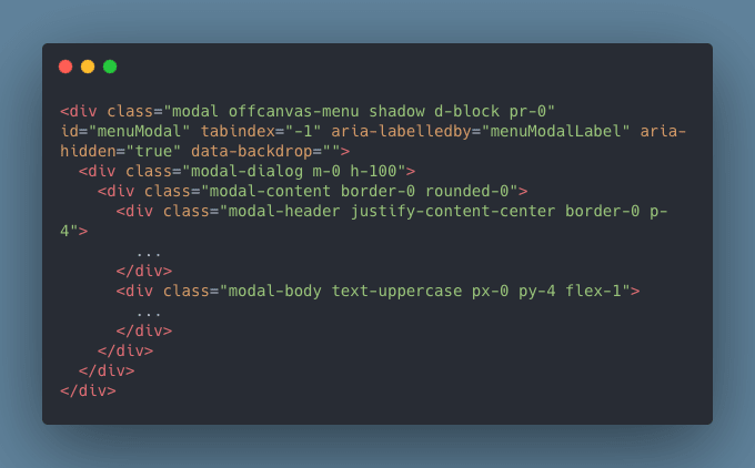 Off-canvas menu usando el modal de Bootstrap