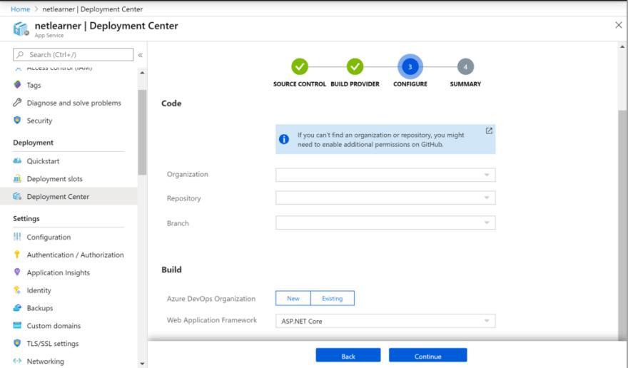 Deployment Center in Azure App Service