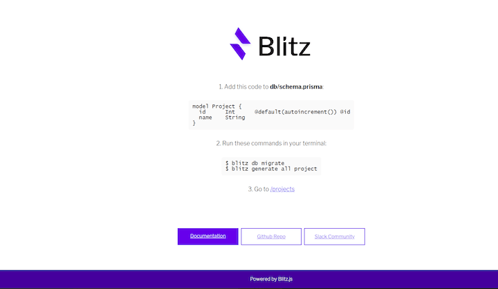 Blitz.js Index Page