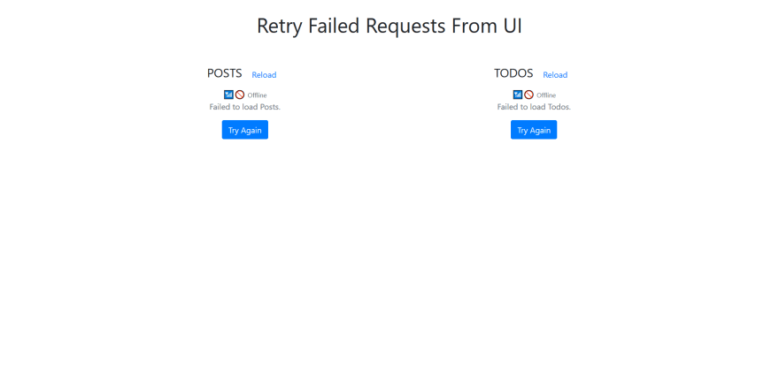 preview of retry buttons