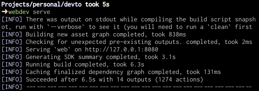 Terminal output from running webdev serve.