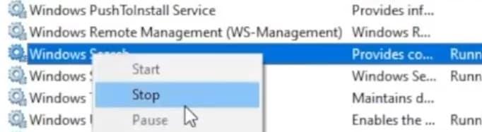 windows search service stop