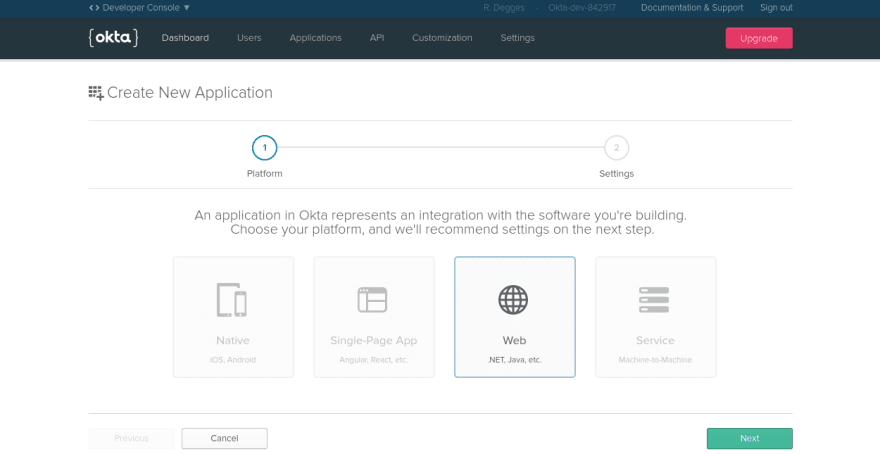 Okta create application page
