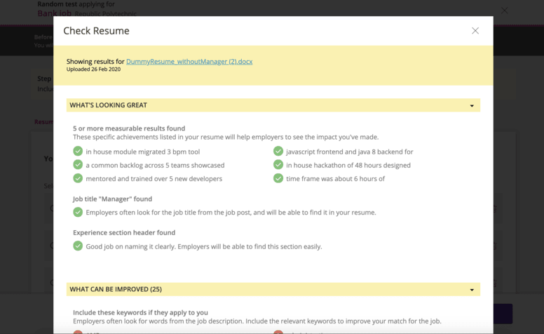 Check Resume modal showing Experience section header