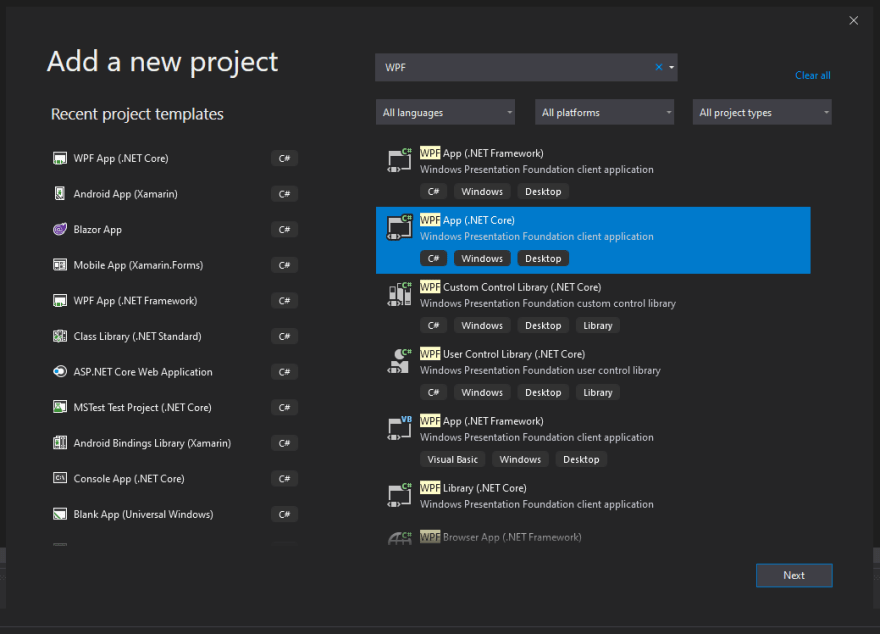 Visual Studio new project explorer