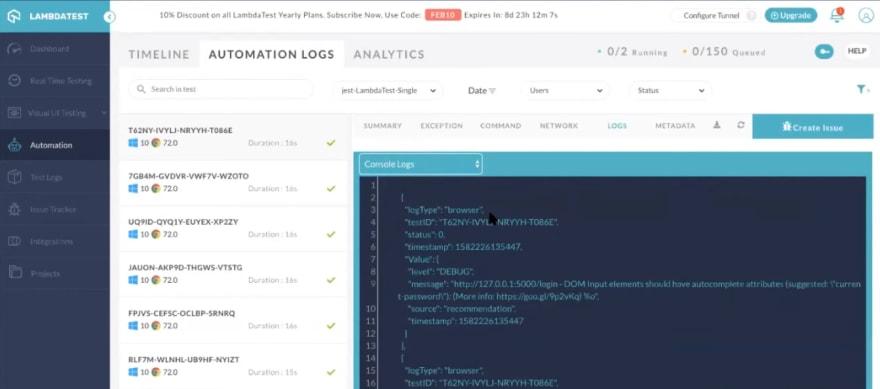 lambdatest-automation-logs