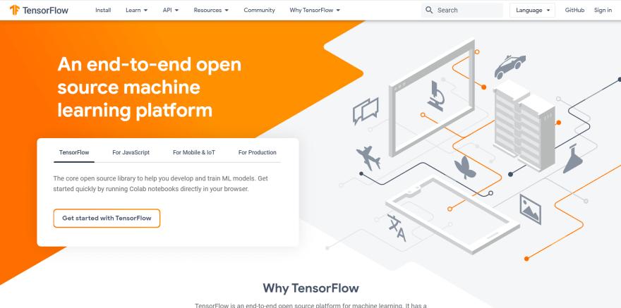 Tensorflow landing page