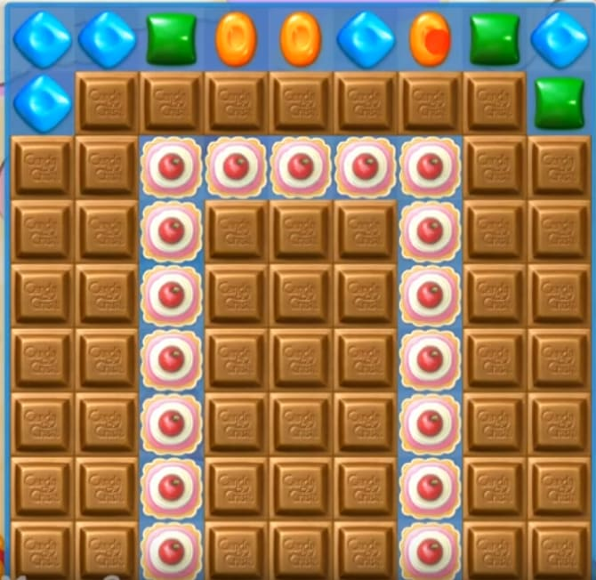 An screen almost full of chocolate blocks