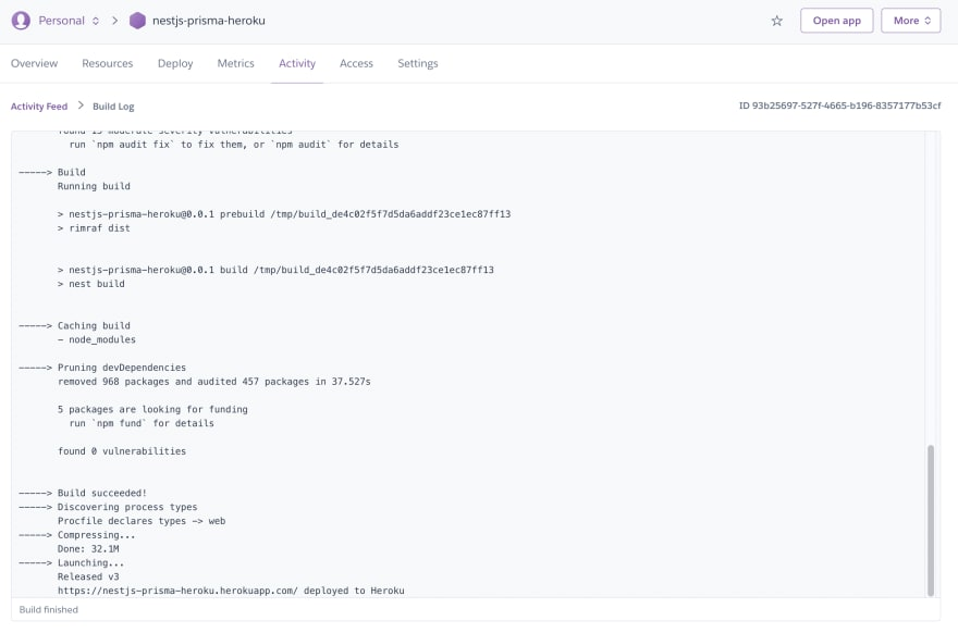 First app build on Heroku
