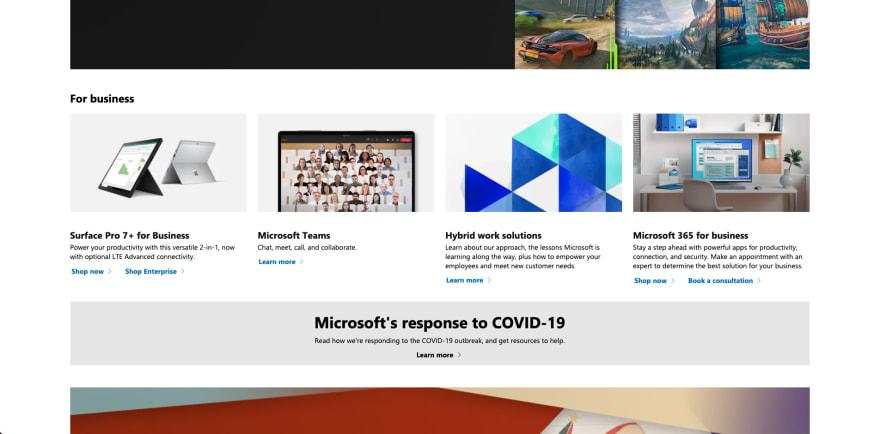 Microsoft website section