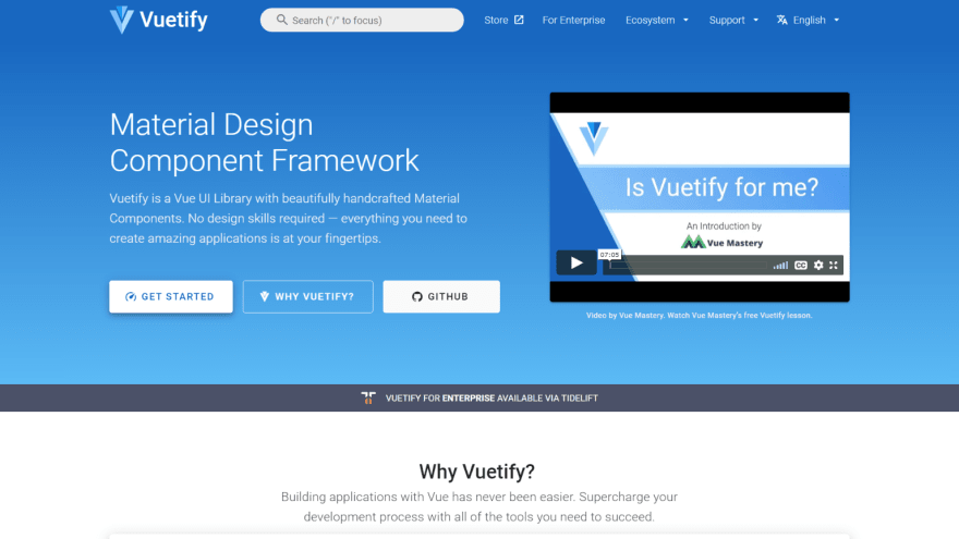 Vuetify VueJS UI Component Libraries