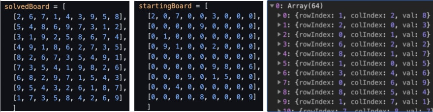 Generated Sudoku Boards: Solved, Starting, Removed Values