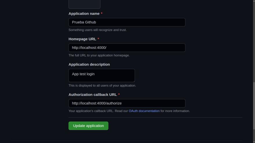 OAuth application settings