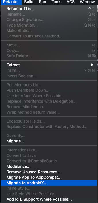 Android Studio refactor option