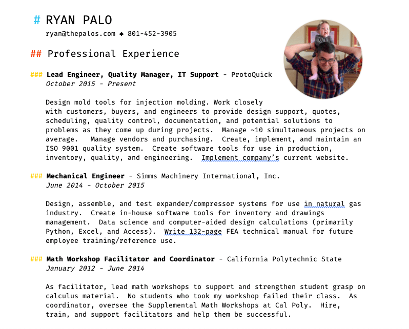 My Resume, part 1.