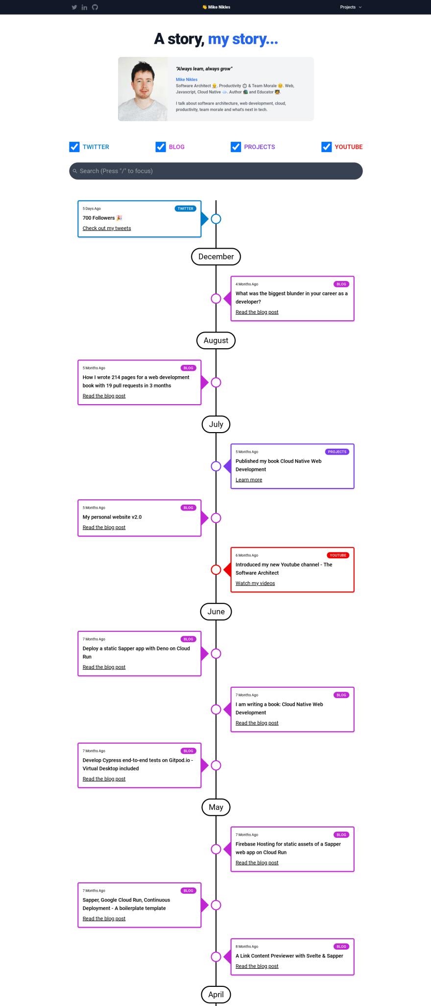 Timeline homepage