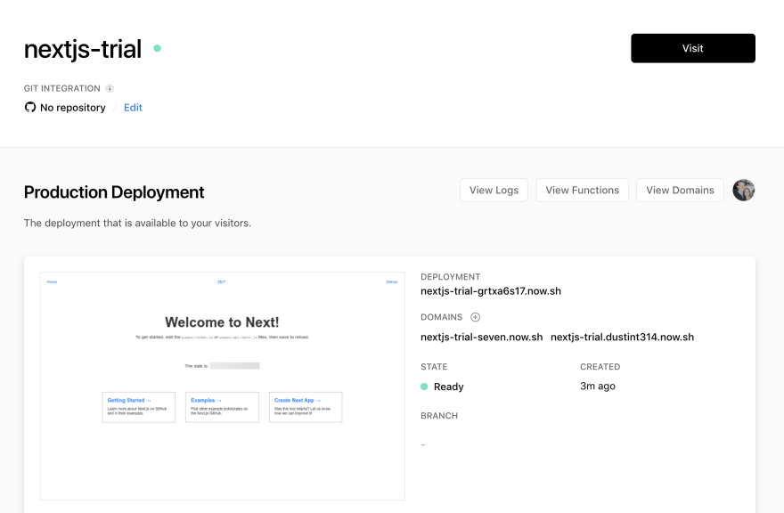 Deployment overview page